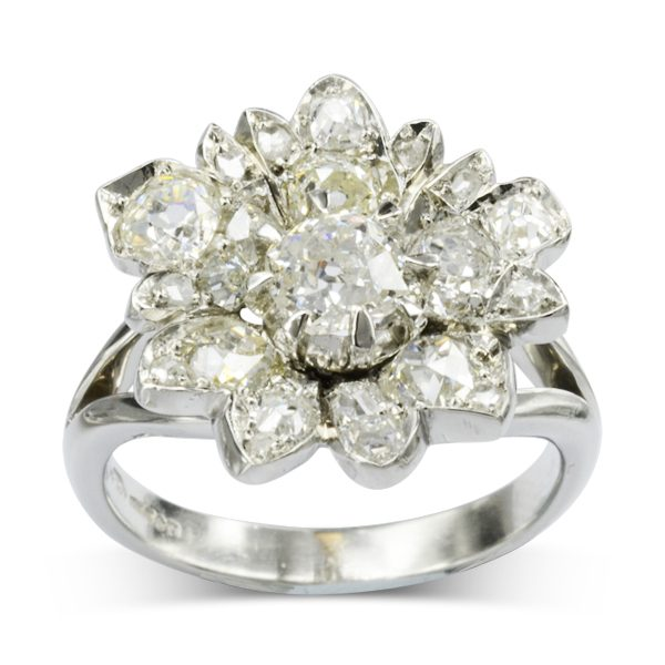 platinum diamond vintage flower dress ring