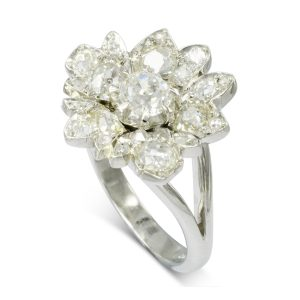 vintage flower diamond dress ring