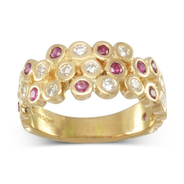 unusual ruby diamond gold eternity ring