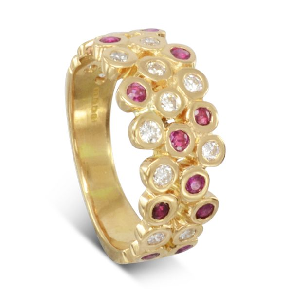ruby diamond gold eternity ring