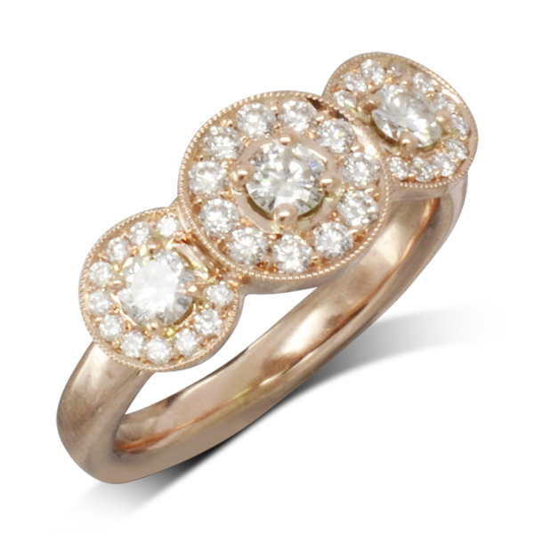 vintage rose gold trilogy ring
