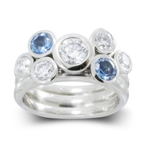 Aquamarine Diamond Stacking Ring