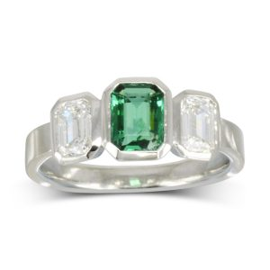 Emerald Diamond Trilogy Ring