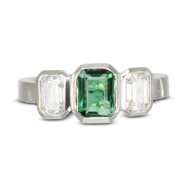 Bespoke Emerald Diamond Trilogy Ring