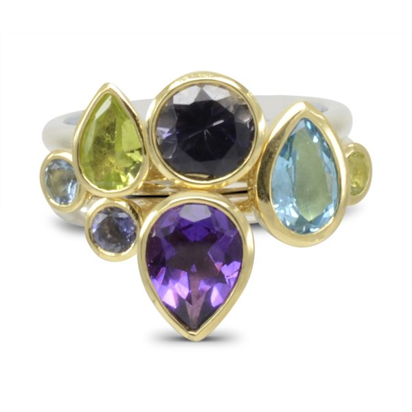 Gold Amethyst Topaz Stacking Ring