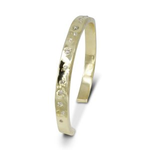Gold Diamond Side Hammered Cuff Bangle