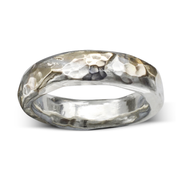 Gold Silver Hammered Ring