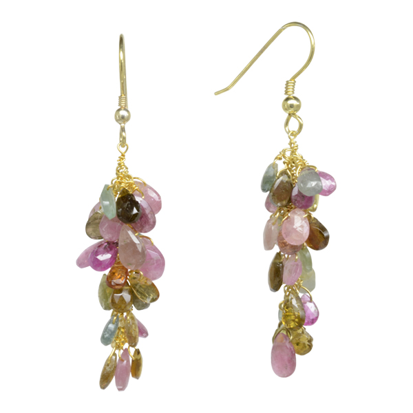 Tourmaline Cluster Drop Earrings