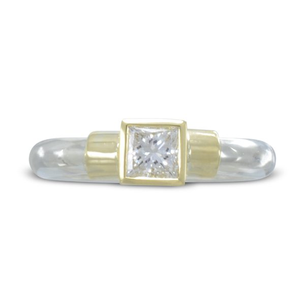 Princess Cut Diamond Two Colour Ring