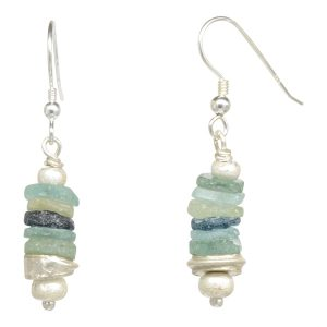 Roman Glass Button Earrings