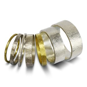 Rough Hammered Wedding Rings