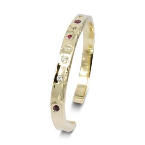 Ruby Diamond Side Hammered Bangle