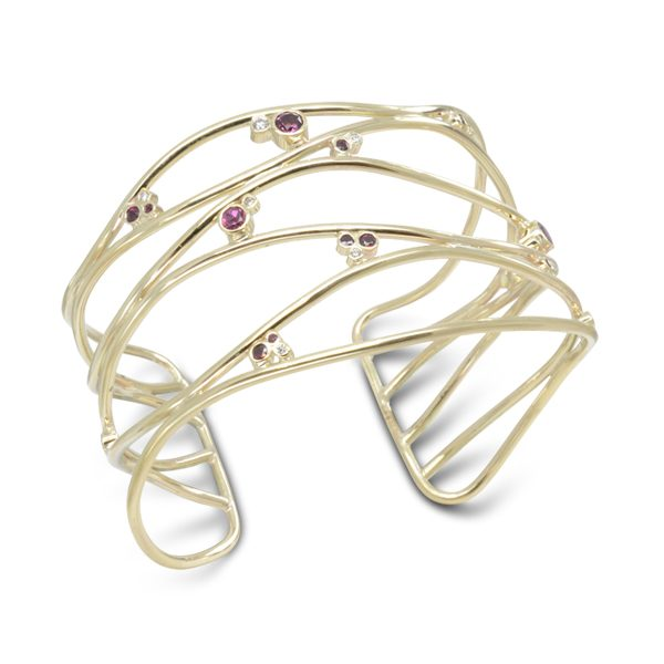 Gold Ruby Diamond Wide Cuff Bangle