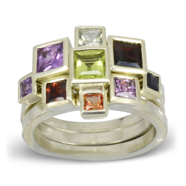 Bespoke Square Gems Stacking Ring