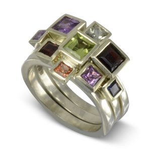 Square Gems Stacking Ring