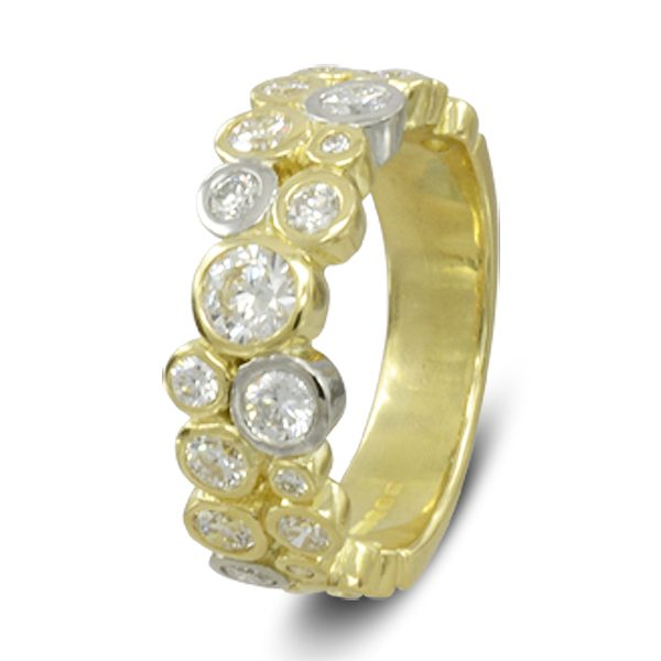 Unusual Two colour gold bubbles eternity ring