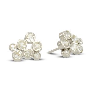 Mine cut diamond earstuds