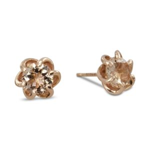 six claw twist rose gold earstuds rose gold morganite