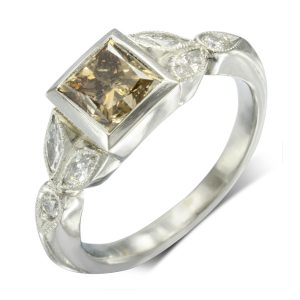 Cappuccino diamond vintage engagement ring