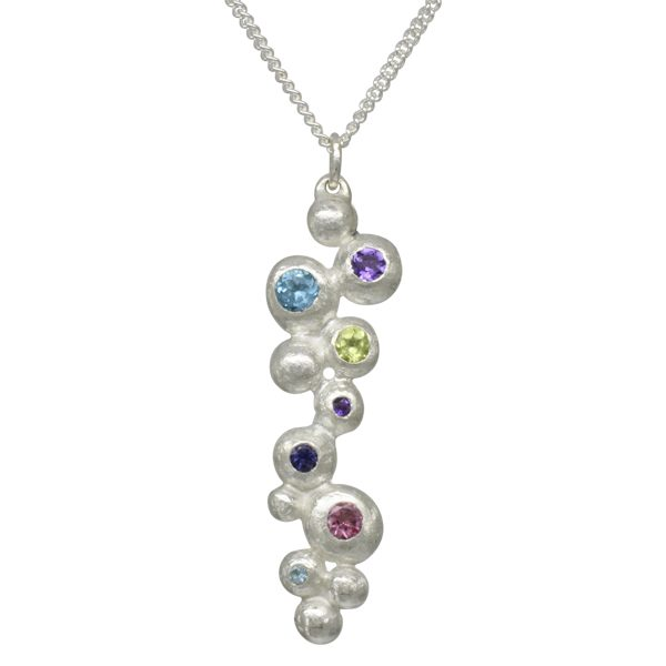 Colourful Gemset Silver Nugget Pendant