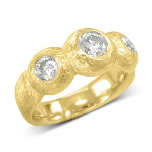 Gold nugget diamond trilogy ring