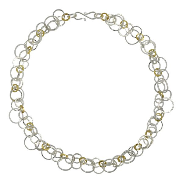 Hammered two tone chain necklace