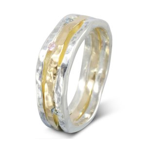 Three Band Organic Gemset Eternity Ring