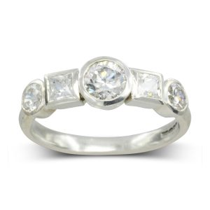 Alternating Princess Cut and Round Diamond Ring