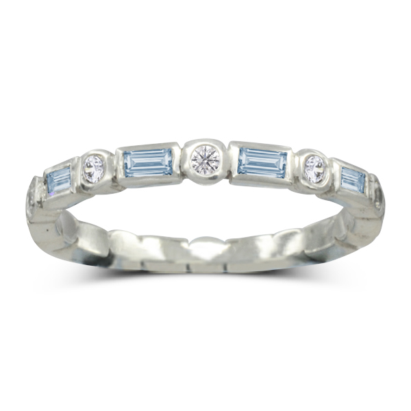aquamarine baguette round eternity ring