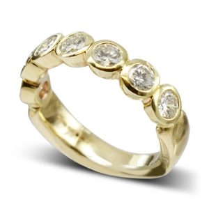 Gold Diamond half eternity Ring