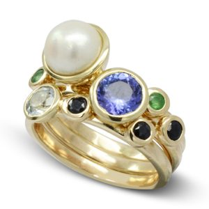 Pearl Tanzanite Stacking Ring