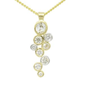 Two colour gold diamond bubbles pendant