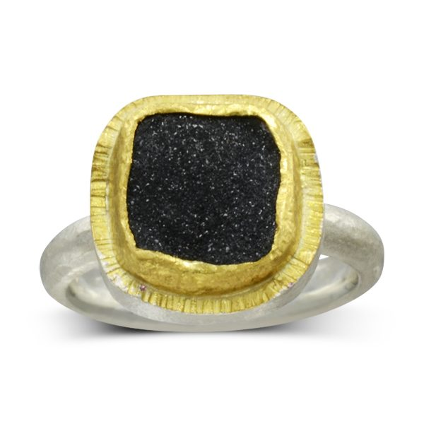 square onyx druzy two tone ring