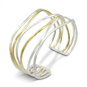 90221124b47 Silver Gold Vermeil Six Strand Cuff, 30mm or 50mm wide. £240.00 Buy now ·  Hammered two tone chain bracelet