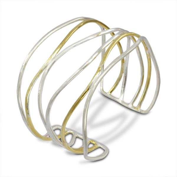 Contemporary jewellery sussex two tone six strand cuff 50mm