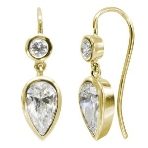Gold Diamond Pear Drop Earrings