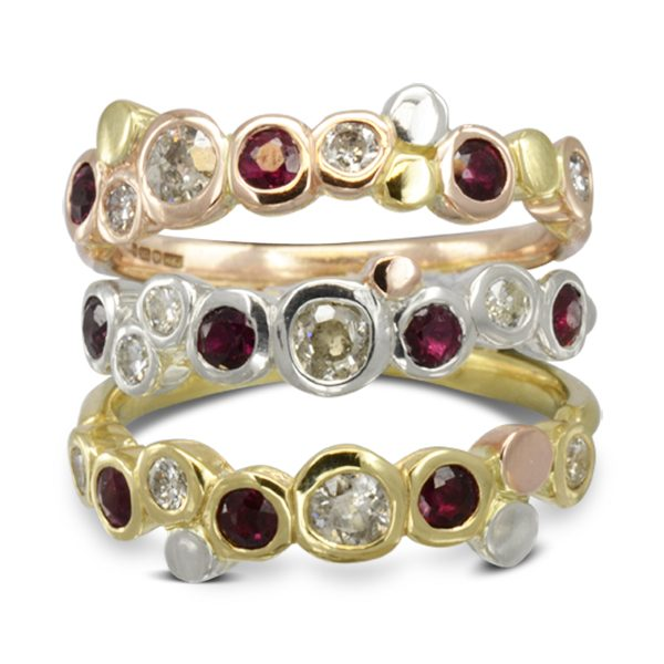 Sussex Designer Three colour gold ruby dress rings