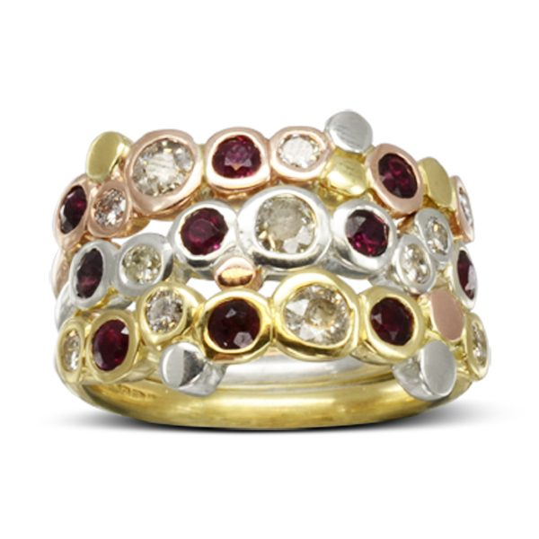 Unusual Three colour gold ruby dress rings