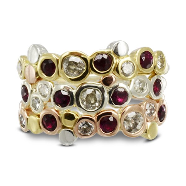 Creative Three colour gold ruby stacking rings