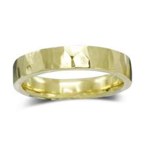 Hammered Gold Wedding Ring 4mm Flat