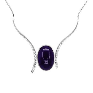 Amethyst forged silver necklace