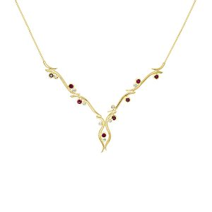 Diamond ruby gold spiky necklace