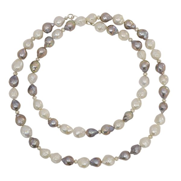 Long Grey Baroque Pearl Necklace