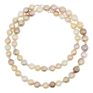 Long Multi Colour Baroque Pearl Necklace