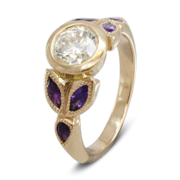 creative amethyst rose gold contemporary vintage engagement ring