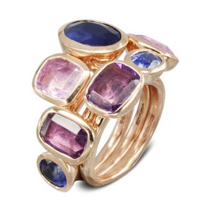 Multi Coloured Sapphire Stacking Rings