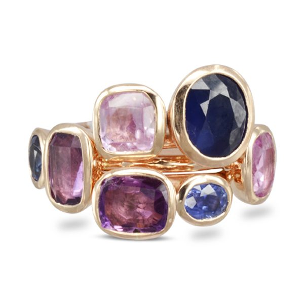 Pink and Blue Sapphire Stacking Rings