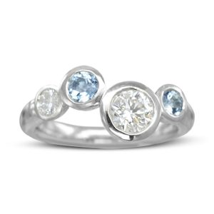 Offset Aquamarine Diamond Eternity Ring