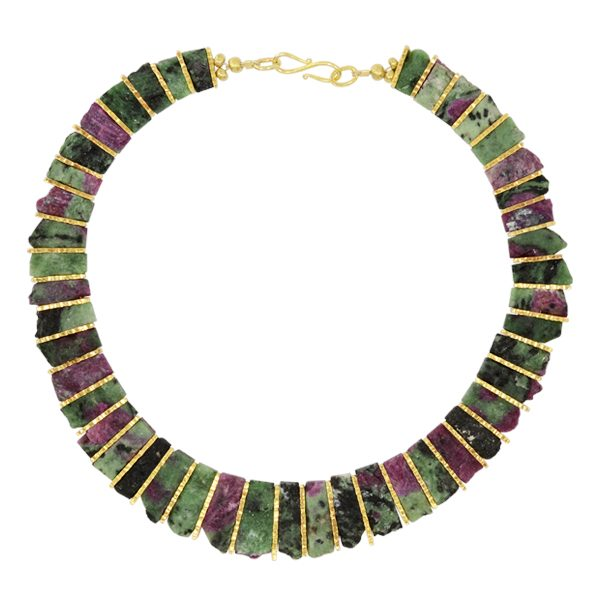 Ruby Zoisite Tab necklace