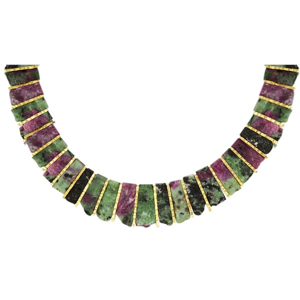 Unusual ruby zoisite necklace